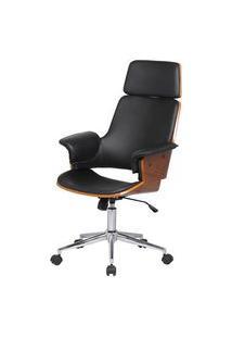 Cadeira Office Coimbra Pu Preto Base Cromada - 34440 Preto
