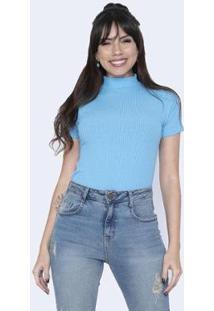 Blusa Salvatore Fashion Gola Alta Canelada Feminina - Feminino-Azul
