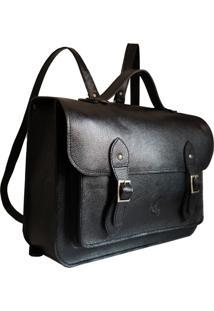 Mochila Line Store Leather Satchel N2 Grande Couro Preto
