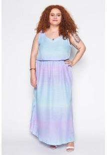 Vestido Longo Plus Size Tie Dye Feminino - Feminino-Azul