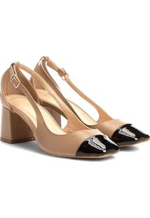 Scarpin Couro Shoestock Salto Bloco Biqueira - Feminino-Nude
