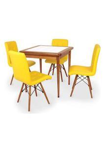 Conjunto Mesa De Jantar Em Madeira Imbuia Com Azulejo + 4 Cadeiras Gomos - Amarelo