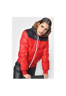 Jaqueta Puffer Calvin Klein Jeans Color Block Vermelha