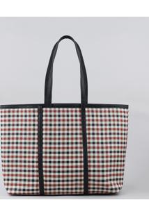 Bolsa Shopper Feminina Estampada Xadrez Preta - Único