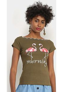 Blusa Lily Fashion Flamingos Feminina - Feminino-Verde