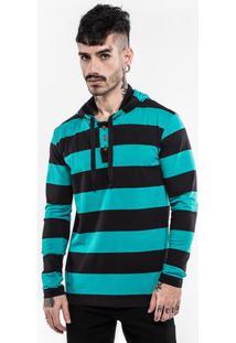 Camiseta Henley Turquesa E Preto Com Capuz 102767