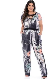Macacão Elegance All Curves Plus Size Salmão Flower Com Colar-54
