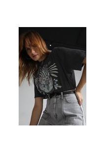 Camiseta Cropped Colcci Selva Encantada Preta