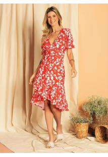 Vestido Transpassado Com Babado Floral Vermelho
