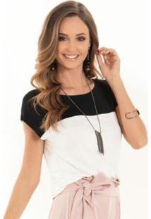 Blusa Quintess Recorte Feminino - Feminino-Preto+Branco
