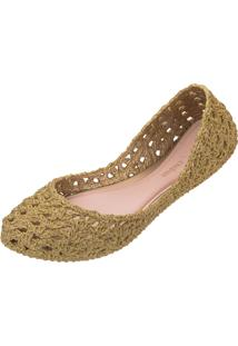 Sapatilha Melissa Campana Crochet Ad Dourado