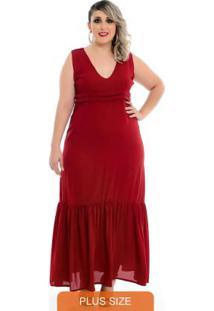 Vestido Maxi Decote Festa Vermelho Plus Size