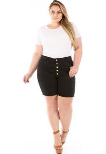 Shorts Jeans Cintura Alta Com Botões Plus Size Feminino - Feminino-Preto