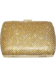 Bolsa Real Arte Clutch Strass Quadrada Dourada