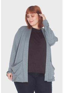 Cardigan Canelado Flamê Plus Size Passy Feminino - Feminino-Verde