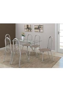 Mesa 387 Com Vidro Incolor Cromada Com 6 Cadeiras 182 Camurça Conhaque Carraro
