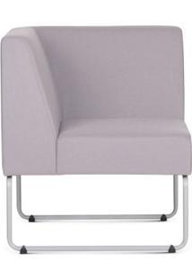 Poltrona Modular Pix Com Braco Individual Assento Crepe Cinza Claro Base Aco Branco - 55335 - Sun House