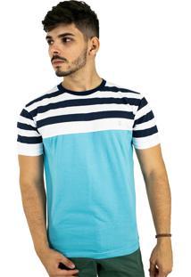 Camiseta Básica Azul Claro Listrada Blitz Multicolorido