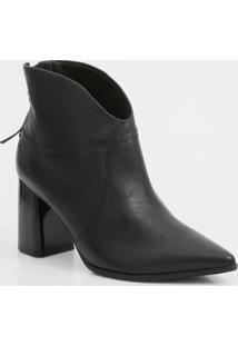 Bota Feminina Ankle Boot Bico Fino Salto Grosso Ramarim