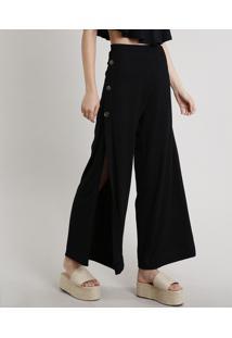 Calça Feminina Pantalona Com Fendas E Botões Preta