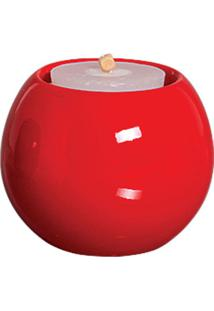Castiçal Bella De Cerâmica 10Cm Vermelho Mazzotti