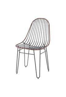 Cadeira Invisi Trama Couro Natural Caramelo Base Preta 45 Cm (Larg) - 41426 Caramelo