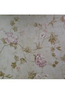 Kit 4 Rolos De Papel De Parede Floral Rosa Fundo Esverdeado Fwb