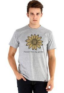 Camiseta Ouroboros Manga Curta Girassol - Masculino-Cinza