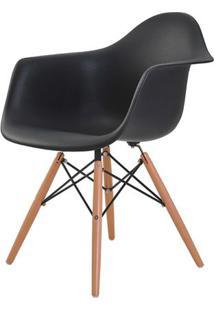 Cadeira Eames Eiffel Com Braco Polipropileno Cor Preto Base Madeira - 44916 - Sun House