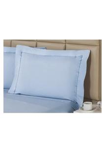 Fronha Percal 230 Fios 50X150Cm Premium Sky Blue Plumasul