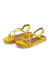 Rasteirinha Anabela Feminino Conforto Amarelo