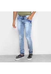 Calça Jeans Slim Coffee Slim Lavagem Clara Masculina - Masculino-Jeans