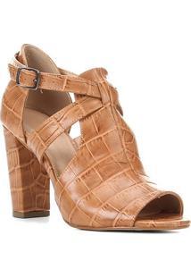 Sandália Couro Shoestock Sandal Boot Croco Feminina - Feminino-Caramelo