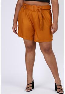 Bermuda Feminina Plus Size Cintura Alta Alfaiatada Com Cinto Cobre