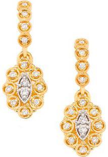 Brinco Em Ouro Amarelo 18K Com Diamante - Vintage