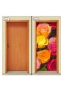 Adesivo Decorativo De Porta - Flor - Rosa - 1018Cnpt