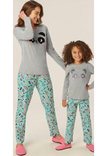 Pijama Mescla Panda Adulto Em Malha