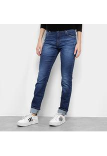 Calça Jeans Lacoste Denim Skinny Feminina - Feminino-Azul
