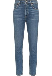 Re/Done Calça Jeans Reta Cropped - Azul