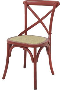 Cadeira Katrina Madeira Assento Rattan Cor Vermelha - 19166 - Sun House