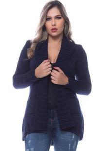 Casaco Officina Do Tricô Cardigan Com Bolso Feminino - Feminino-Azul