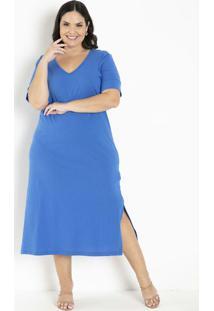 Vestido Azul Com Fendas Plus Size