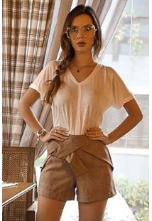 Blusa Malha Italiana Recorte Frente Off White