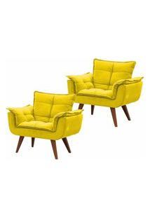 Kit 02 Poltronas Decorativa Opalla Suede Amarelo - Ds Móveis
