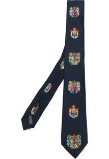 Dolce & Gabbana Gravata De Seda 'Heraldic Sicilia' - Azul