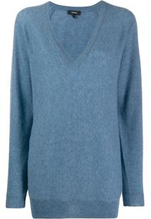 Theory Deep V-Neck Pullover - Azul