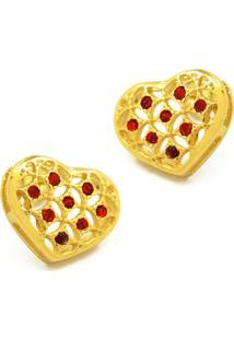 Brinco Horus Import Solitário Corações Banhado Ouro Amarelo 18K 1030035