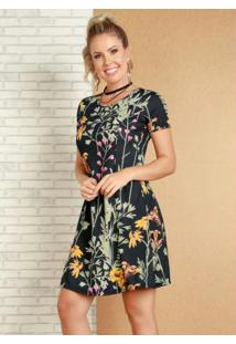 51c11a0fa R$ 49,99. Posthaus Vestido Curto Decote Redondo Gota Preto Moda Pop Floral  ...