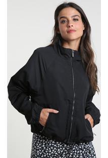 Jaqueta Feminina Cropped Em Nylon Com Bolsos Preta