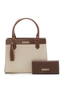 Bolsa Feminina Bicolor Com Carteira Santorini Handbag Tricê Marrom/Creme